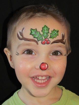 Pintacaras de Rudolph con ceras de colores